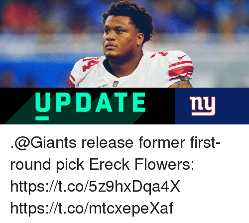 first-round-pick: UPDATE nu .@Giants release former first-round pick Ereck Flowers: https://t.co/5z9hxDqa4X https://t.co/mtcxepeXaf