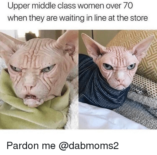 pardon me: Upper middle class women over 70  when they are waiting in line at the storee Pardon me @dabmoms2