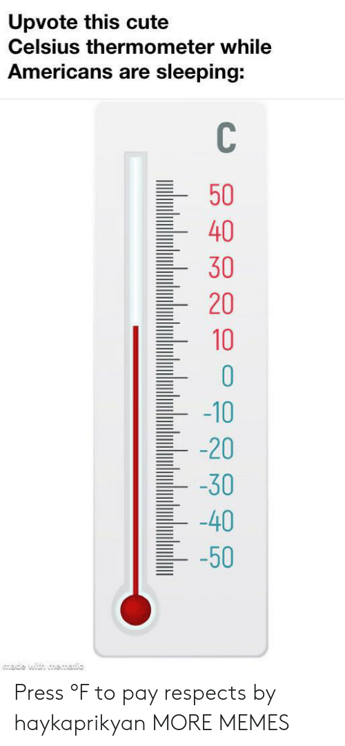 Cute, Dank, and Memes: Upvote this cute  Celsius thermometer while  Americans are sleeping:  C\  50  40  30  20  10  -10  -20  -30  40  -50  ade with mematic Press °F to pay respects by haykaprikyan MORE MEMES