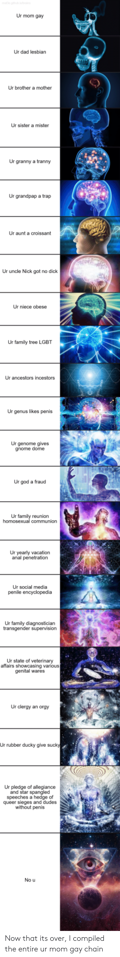 tranny: Ur mom gay  Ur dad lesbian  Ur brother a mother  Ur sister a mister  Ur granny a tranny  Ur grandpap a trap  Ur aunt a croissant  Ur uncle Nick got no dick  Ur niece obese  Ur family tree LGBT  Ur ancestors incestors  Ur genus likes penis  Ur genome gives  gnome dome  Ur god a fraud  Ur family reunion  Ur yearly vacation  anal penetration  Ur social media  Ur family diagnosticiarn  Ur state of veterinary  affairs showcasing various  genital wares  Ur clergy an orgy  Ur rubber ducky give suck  Ur pledge of allegiance  and star spangle  speeches a hedge of  queer sieges and dudes  without penis  No u Now that its over, I compiled the entire ur mom gay chain