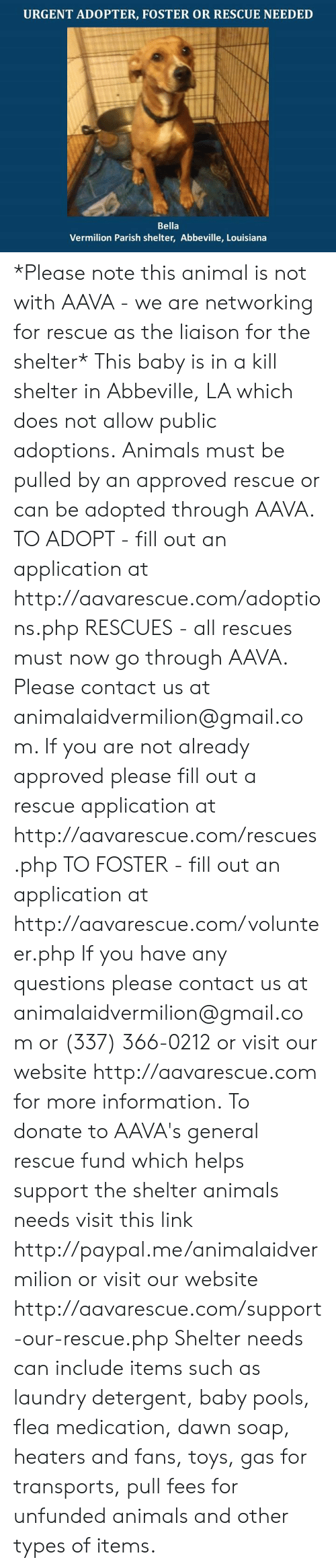 Fill Out: URGENT ADOPTER, FOSTER OR RESCUE NEEDED  Bella  Vermilion Parish shelter, Abbeville, Louisiana *Please note this animal is not with AAVA - we are networking for rescue as the liaison for the shelter* This baby is in a kill shelter in Abbeville, LA which does not allow public adoptions. Animals must be pulled by an approved rescue or can be adopted through AAVA.  TO ADOPT - fill out an application at http://aavarescue.com/adoptions.php  RESCUES - all rescues must now go through AAVA. Please contact us at animalaidvermilion@gmail.com. If you are not already approved please fill out a rescue application at http://aavarescue.com/rescues.php  TO FOSTER - fill out an application at http://aavarescue.com/volunteer.php  If you have any questions please contact us at animalaidvermilion@gmail.com or (337) 366-0212 or visit our website http://aavarescue.com for more information.  To donate to AAVA's general rescue fund which helps support the shelter animals needs visit this link http://paypal.me/animalaidvermilion or visit our website http://aavarescue.com/support-our-rescue.php Shelter needs can include items such as laundry detergent, baby pools, flea medication, dawn soap, heaters and fans, toys, gas for transports, pull fees for unfunded animals and other types of items.