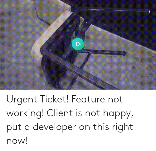 now: Urgent Ticket! Feature not working! Client is not happy, put a developer on this right now!