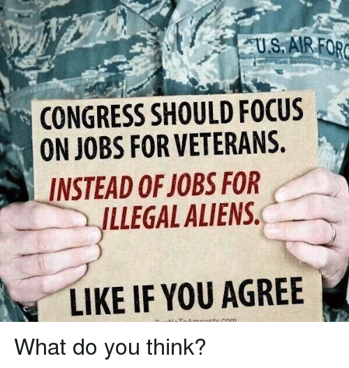 Memes, Aliens, and Focus: US, AIRFOR  CONGRESS SHOULD FOCUS  ON JOBS FOR VETERANS.  LLEGAL ALIENS  LIKE IF YOU AGREE  INSTEAD OF JOBS FOR What do you think?