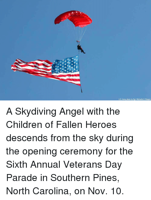 Children, Memes, and Army: US. Army photo by Sgt. Michelle U. Blesam A Skydiving Angel with the Children of Fallen Heroes descends from the sky during the opening ceremony for the Sixth Annual Veterans Day Parade in Southern Pines, North Carolina, on Nov. 10.