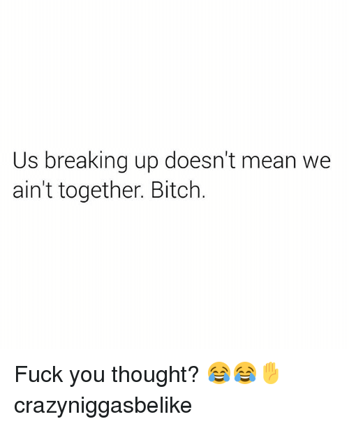 Bitches Fucked: Us breaking up doesn't mean we  ain't together. Bitch Fuck you thought? 😂😂✋ crazyniggasbelike