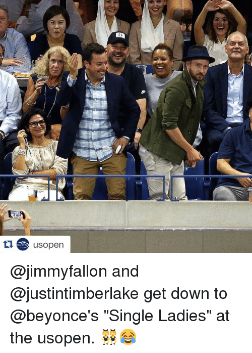 """Single Ladie: US OPEN  usopen @jimmyfallon and @justintimberlake get down to @beyonce's """"Single Ladies"""" at the usopen. 👯😂"""
