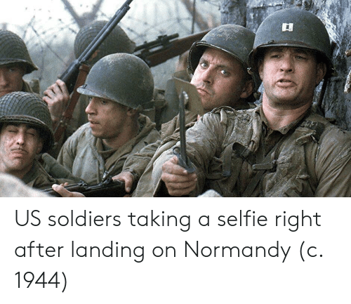 normandy: US soldiers taking a selfie right after landing on Normandy (c. 1944)