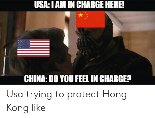 China, Hong Kong, and Usa: USA:I AM IN CHARGE HERE!  CHINA: DO YOU FEEL IN CHARGE? Usa trying to protect Hong Kong like