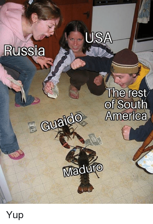 America, Russia, and Usa: USA  Russia  The rest  of South  America  do  Guaido  Maduro Yup
