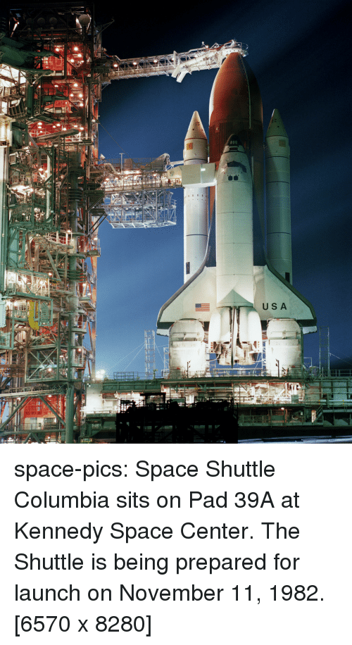 Columbia: USA  SIDE space-pics:  Space Shuttle Columbia sits on Pad 39A at Kennedy Space Center. The Shuttle is being prepared for launch on November 11, 1982. [6570 x 8280]