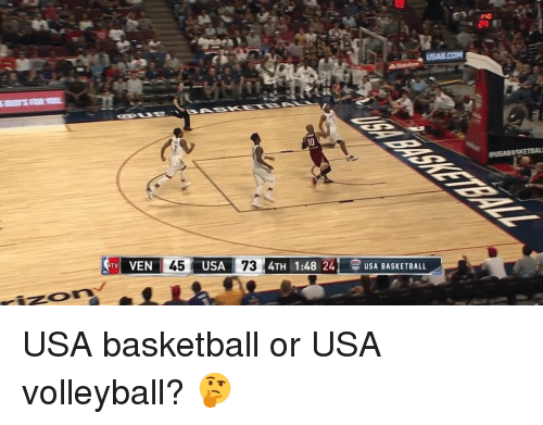 usa basketball: USAECOM  VEN 45 USA  73  4TH 1:48 24  S USADASKETOALL  TV USA basketball or USA volleyball? 🤔