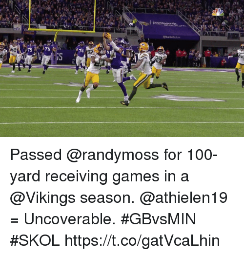 Anaconda, Memes, and Games: Usbankstadium  COUNTRY  79  A75  74  97 Passed @randymoss for 100-yard receiving games in a @Vikings season.  @athielen19 = Uncoverable.   #GBvsMIN #SKOL https://t.co/gatVcaLhin
