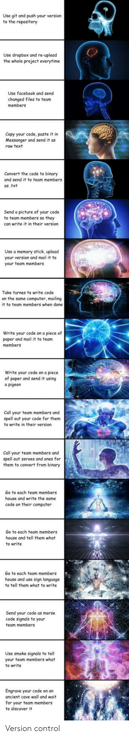 morse code: Use git and push your version  to the repository  Use dropbox and re-upload  the whole project everytime  Use facebook and send  changed files to team  members  Copy your code, paste it in  Messanger and send it as  raw text  Convert the code to binary  and send it to team members  as .txt  Send a picture of your code  to team members so they  can write it in their version  Use a memory stick, upload  your version and mail it to  your team members  Take turnes to write code  on the same computer, mailing  it to team members when done  rite your code on a piece of  paper and mail it to team  members  Write your code on a piece  of paper and send it using  a pigeon  Call your team members and  spell out your code for them  to write in their version  Call your team members and  spell out zeroes and ones for  them to convert from binary  Go to each team members  house and write the same  code on their computer  Go to each team members  house and tell them what  to write  Go to each team members  house and use sign language  to tell them what to write  Send your code as morse  code signals to your  team members  Use smoke signals to tell  your team  to write  members what  Engrave your code on an  ancient cave wall and wait  for your team members  to discover it Version control