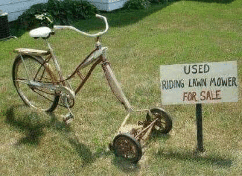 Memes, 🤖, and Lawn Mower: USED  RIDING LAWN MOWER  FOR SALE