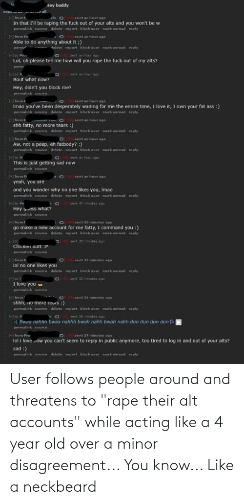 """Alt Accounts: User follows people around and threatens to """"rape their alt accounts"""" while acting like a 4 year old over a minor disagreement... You know... Like a neckbeard"""