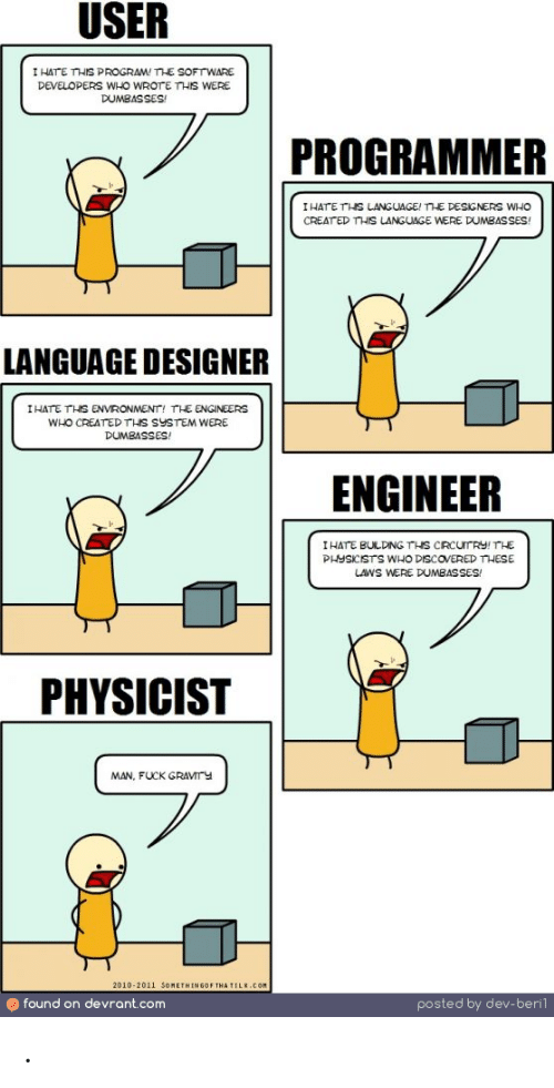 creat: USER  I HATE THIS PROGRAM! SOFTWARE  DEVELOPERS WHO WROTE THIS WERE  DUMBASSES  PROGRAMMER  IHATE THS LANGUAGE! THE DESIGNERS WHO  CREAT ED THIS LANGUAGE WERE DUMBASSES  LANGUAGE DESIGNER  I HATE THS ENVRONMENT, TLE ENGINEERS  WHO CREATEDTHS SYSTEM WERE  DUMBASSES!  ENGINEER  I HATE BULDNGTHS CRCUrRY!THE  PHYSICISTS WHO DISCOVERED THESE  UWS WERE DUMBASSES/  PHYSICIST  MAN, FUCK GRAVMTY  2010-2011 SOMETHINGOF THA TILE.COM  found on devrant.com  posted by dev-berl .