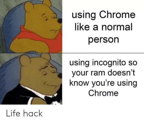 Life hack: using Chrome  like a normal  person  using incognito so  your ram doesn't  know you're using  Chrome Life hack