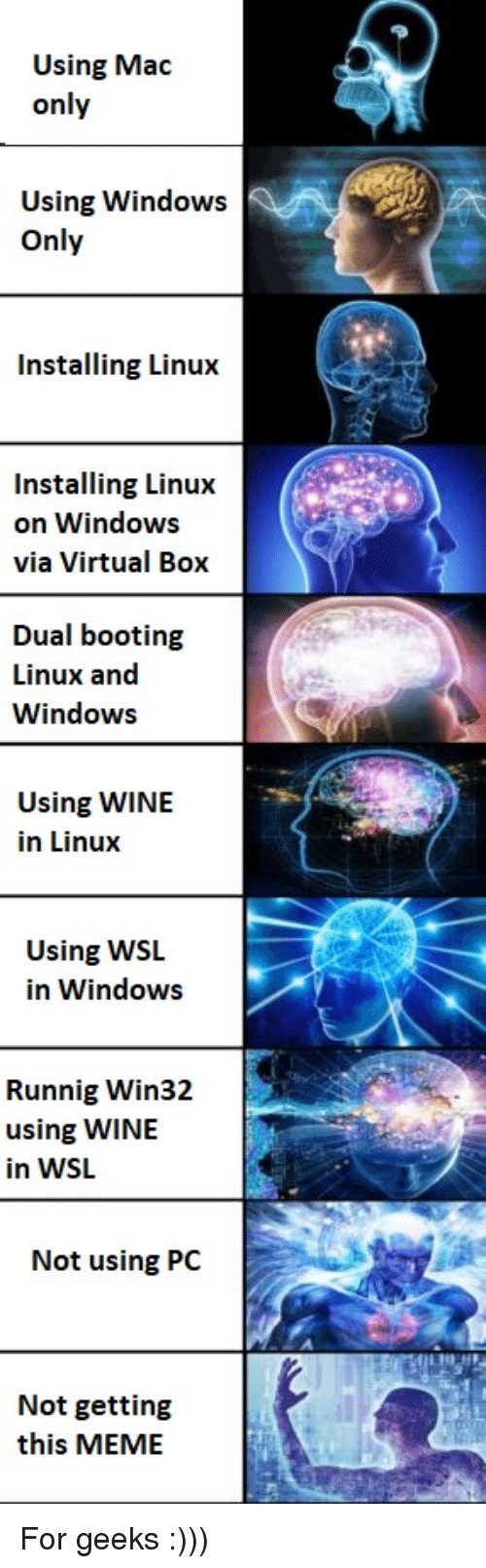 dual: Using Mac  only  Using Windows  Only  Installing Linux  Installing Linux  on Windows  via Virtual Box  Dual booting  Linux and  Windows  Using WINIE  in Linux  Using WSL  in Windows  Runnig Win32  using WINE  in WSL  Not using PC  Not getting  this MEME For geeks :)))