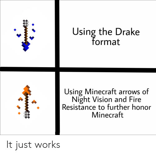Drake, Fire, and Minecraft: Using the Drake  format  太  Using Minecraft arrows of  Night Vision and Fire  Resistance to further honor  Minecraft It just works