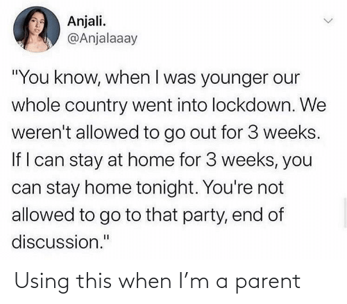 using: Using this when I'm a parent