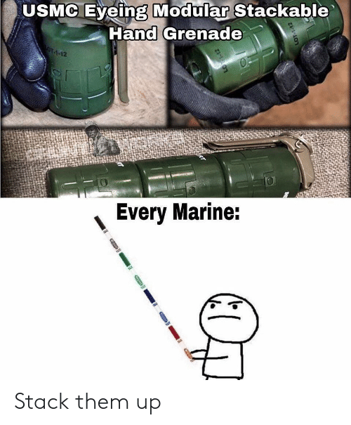 marine: USMC Eyeing Modular Stackable  Hand Grenade  OT-1-12  Every Marine: Stack them up