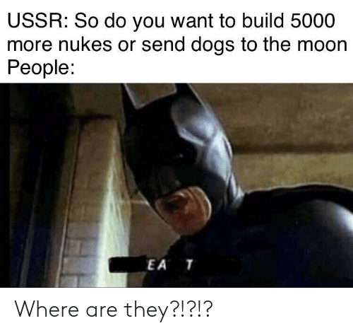 USSR: USSR: So do you want to build 5000  more nukes or send dogs to the moon  People:  EA T Where are they?!?!?