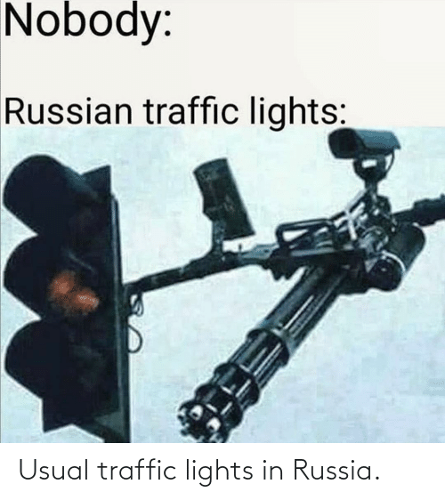 lights: Usual traffic lights in Russia.