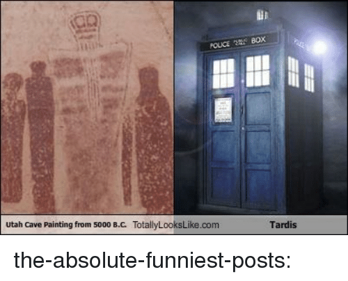 Gif, Target, and Tumblr: utah Cave Painting from 5000 B.C. TotallyLooksLike.com  Tardis the-absolute-funniest-posts: