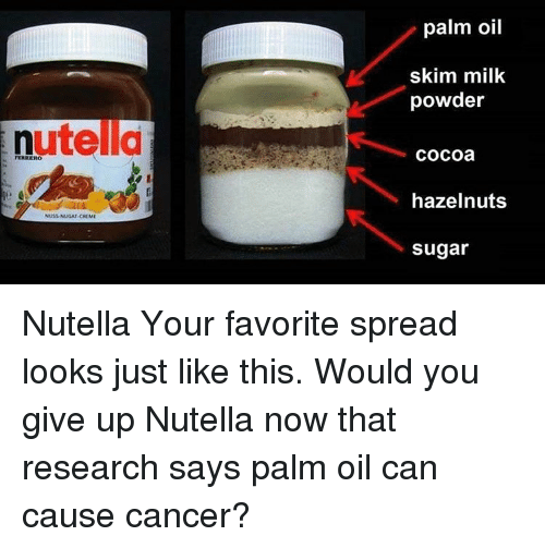Memes, Sugar, and Nutella: utella  NUSS NUGAT CREME  palm oil  skim milk  powder  Cocoa  hazelnuts  Sugar Nutella Your favorite spread looks just like this. Would you give up Nutella now that research says palm oil can cause cancer?