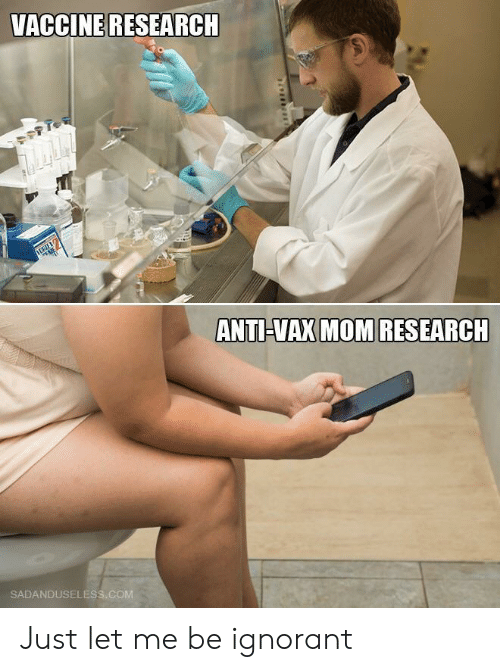 Ignorant, Mom, and Anti: VACCINE RESEARCH  ANTI-VAX MOM RESEARCH  SADANDUSELESS.COM Just let me be ignorant