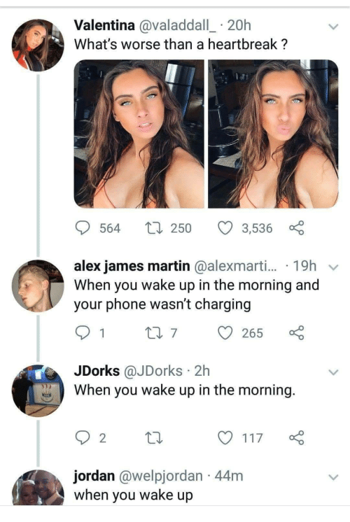 Valentina: Valentina @valaddall_ 20h  What's worse than a heartbreak ?  564  250  3,536  alex james martin @alexmarti... 19h v  When you wake up in the morning and  your phone wasn't charging  07265  JDorks @JDorks 2h  When you wake up in the morning  2  y117  jordan @welpjordan 44m  when you wake up