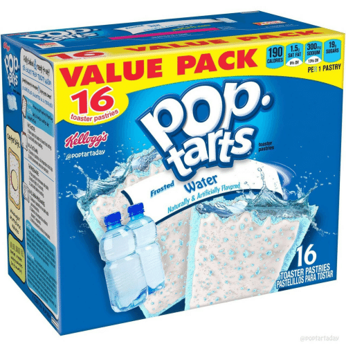 Pastries: VALUE PACK ,,  16  mg  SAT FAT SODIUM SUGARS  840 DV  1396 DV  op.  PER 1 PASTRY  toaster pas  pastries  @poptartaday  toaster  pastries  Water  Naturally &Artificially Flavored a  Froste  16  TOASTER PASTRIES  PASTELILLOS PARA TOSTAR  @poptarfaday