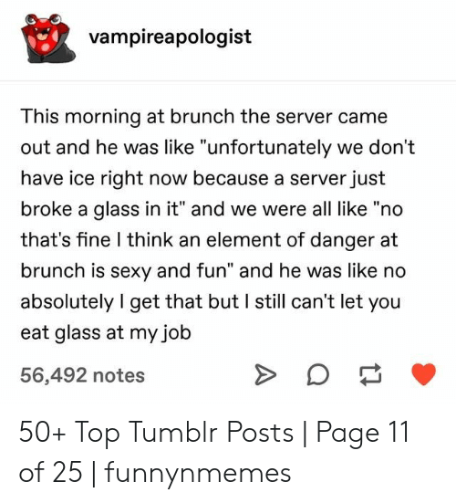 "server: vampireapologist  This morning at brunch the server came  out and he was like ""unfortunately we don't  have ice right now because a server just  broke a glass in it"" and we were all like ""no  that's fine I think an element of danger at  brunch is sexy and fun"" and he was like no  absolutely I get that but I still can't let you  eat glass at my job  56,492 notes 50+ Top Tumblr Posts 
