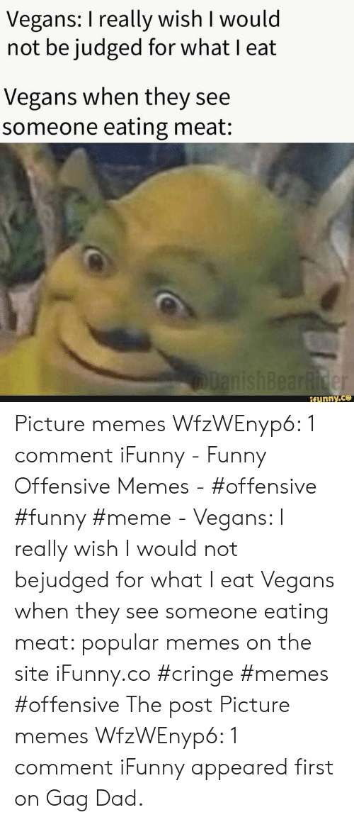 Dad, Funny, and Meme: Vegans: I really wish I would  not be judged for what I eat  Vegans when they see  someone eating meat:  lanishBearRider  if ynny.co Picture memes WfzWEnyp6: 1 comment iFunny - Funny Offensive Memes - #offensive #funny #meme - Vegans: I really wish I would not bejudged for what I eat Vegans when they see someone eating meat: popular memes on the site iFunny.co #cringe #memes #offensive The post Picture memes WfzWEnyp6: 1 comment iFunny appeared first on Gag Dad.