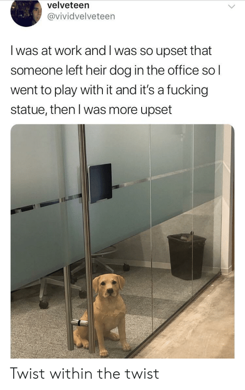 Fucking, The Office, and Work: velveteen  @vividvelveteen  I was at work and I was so upset that  someone left heir dog in the office sol  went to play with it and it's a fucking  statue, then l was more upset Twist within the twist