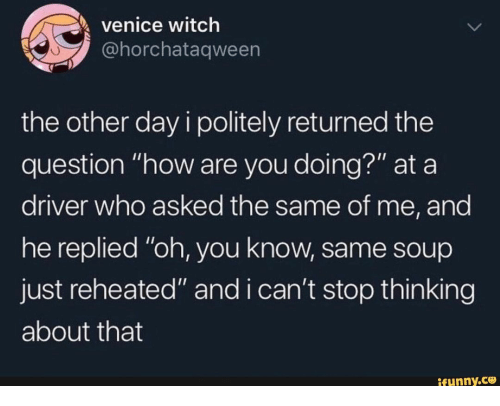 "How, Witch, and Venice: venice witch  @horchataqween  the other day i politely returned the  question ""how are you doing?"" at a  driver who asked the same of me, and  he replied ""oh, you know, same soup  just reheated"" and i can't stop thin king  about that  ifunny.co"