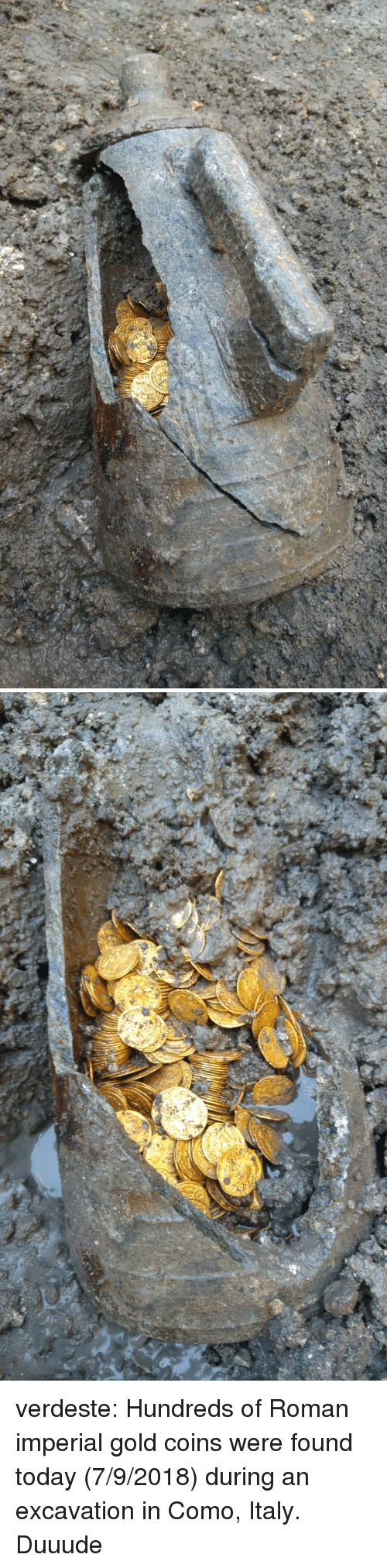 Tumblr, Blog, and Http: verdeste: Hundreds of Roman imperial gold coins were found today (7/9/2018) during an excavation in Como, Italy.  Duuude