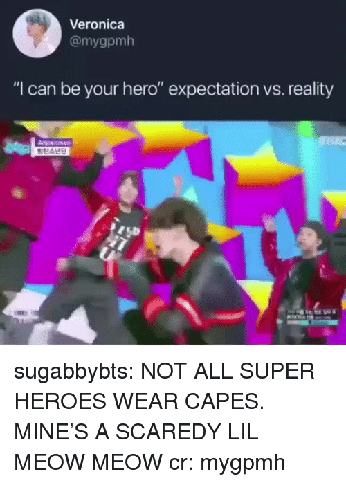 """anpanman: Veronica  @mygpmh  """"I can be your hero"""" expectation vs. reality  Anpanman sugabbybts: NOT ALL SUPER HEROES WEAR CAPES. MINE'S A SCAREDY LIL MEOW MEOW cr: mygpmh"""