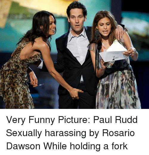 funny picture: Very Funny Picture: Paul Rudd Sexually harassing by Rosario Dawson While holding a fork