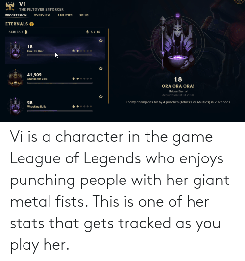 Giant: Vi is a character in the game League of Legends who enjoys punching people with her giant metal fists. This is one of her stats that gets tracked as you play her.