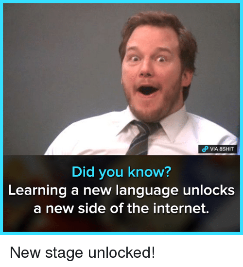 New Language: VIA 8SHIT  Did you know?  Learning a new language unlocks  a new side of the internet. New stage unlocked!