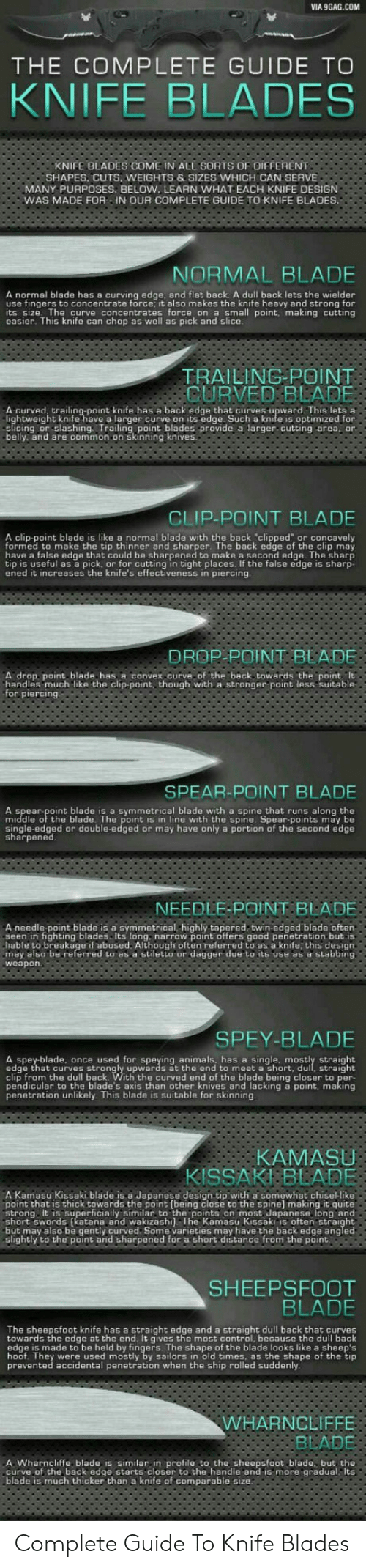 """Symmetrical: VIA 9GAG.COM  THE COMPLETE GUIDE TO  KNIFE BLADES  KNIFE BLADES COME IN ALL SORTS OF OIFFERENT  SHAPES, CUTS, WEIGHTS &SIZES WHICH CAN SERVE  MANY PURPOSES, BELOW, LEARN WHAT EACH KNIFE DESIGN  WAS MADE FOR -IN OUR COMPLETE GUIDE TO KNIFE BLADES.  NORMAL BLADE  A normal blade has a curving edge, and flat back A dull back lets the wielder  use fingers to concentrate force, it also makes the knife heavy and strong for  its size The curve concentrates force on a small point, making cutting  easier. This knife can chop as well as pick and slice.  TRAILING POINT  CURVED BLADE  A curved, trailing-point knife has a back edge that curves upward This lets a  lightweight knife have a larger curve on its edge Such a knife is optimized for  slicing or slashing Trailing point blades provide a larger cutting area, or  belly and are common on skinning knives  CLIP-POINT BLADE  A clip-point blade is like a normal blade with the back """"clipped"""" or concavely  formed to make the tip thinner and sharper. The back edge of  have a false edge that could be sharpened to make a second edge. The sharp  tip is useful as a pick, or for cutting in tight places. If the false edge is sharp-  ened it increases the knife's effectiveness in piercing  clip may  the  DROP POINT BLADE  A drop point blade has a convex.curve of the back towards the point It  handles much like the clip-point, though with a stronger point less suitable  for piercing  SPEAR-POINT BLADE  A spear-point blade is a symmetrical blade with a spine that runs along the  middle of the blade. The point is in line with the spine. Spear-points may be  single-edged or double-edged or may have only a portion of the second edge  sharpened  NEEDLE-POINT BLADE  A needle-point blade is a symmetrical,highly tapered, twin-edged blade often  seen in fighting blades Its long. narrow point offers good penetration but is  liable to breakage if abused. Although often referred to as a knife, this design  may also be referred to as a stil"""