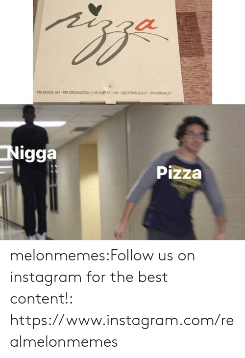 Instagram, Pizza, and Tumblr: VIA BONDI, 487-PER ORDINAZIONI:(+39)0342 97 11 00-GOLOSERIAGALLI.IT-LIVIGNOGALLI.IT  Nigga  Pizza melonmemes:Follow us on instagram for the best content!: https://www.instagram.com/realmelonmemes