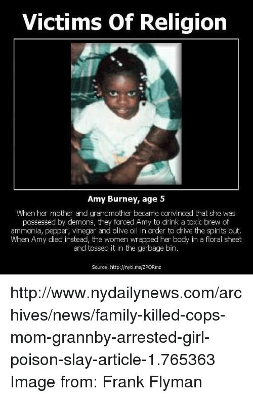 Victims of Religion Amy Burney Age 5 When Her Mother and