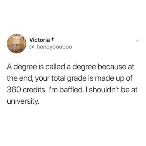 Victoria, University, and Total: Victoria t  @_honeyboobo0  A degree is called a degree because at  the end, your total grade is made up of  360 credits. I'm baffled. I shouldn't be at  university.