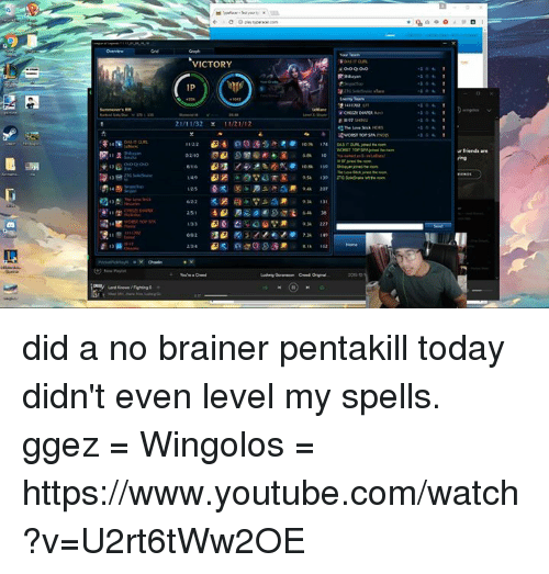 youtubed: VICTORY  IP  21/11/32  0210  223  urfriends are did a no brainer pentakill today didn't even level my spells. ggez   = Wingolos =  https://www.youtube.com/watch?v=U2rt6tWw2OE