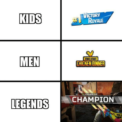Chicken, Kids, and Legends: VICTORY  ROVALE  KIDS  MEN  WINNER WINNER  CHICKEN DINNER  YOU ARE THE  88  CHAMPION  LEGENDS  28