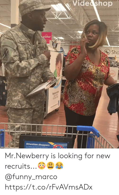 Eing: Vide shop  MAYAWAY  NEWBEARY  Sho  14  der  Fiaden mr  frjr  Attention shoppers  ebey  Our degeng ctswock  eing loe beundy The bn  ou Mr.Newberry is looking for new recruits...??? @funny_marco https://t.co/rFvAVmsADx