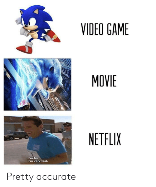 Netflix, Game, and Movie: VIDEO GAME  MOVIE  NETFLIX  I'm fast  I'm very fast Pretty accurate