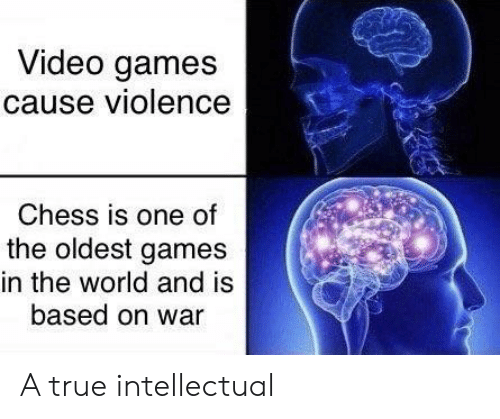 The Oldest: Video games  cause violence  Chess is one of  the oldest games  in the world and is  based on war A true intellectual